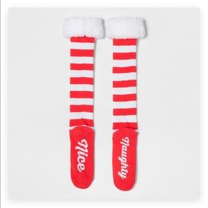Accessories - Naughty Nice Valentine Candy Stripe Boot Socks